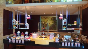 Everything is prettily displayed with a chocolate fountain taking centre stage.